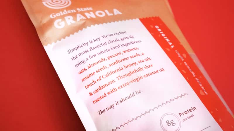 Golden State Granola Packaging Copy